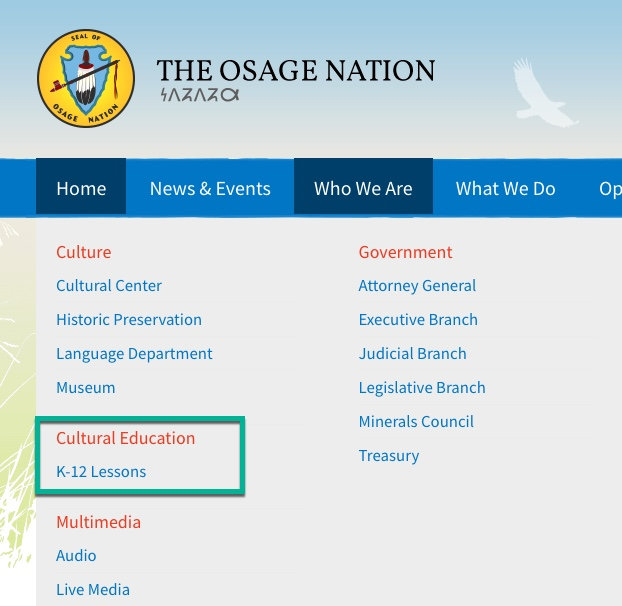 K-12 Lessons easily available on website navigation