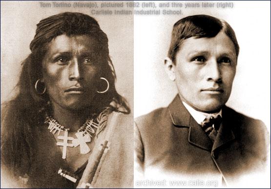 Tom Torlino (Navajo), before and after entering boarding school