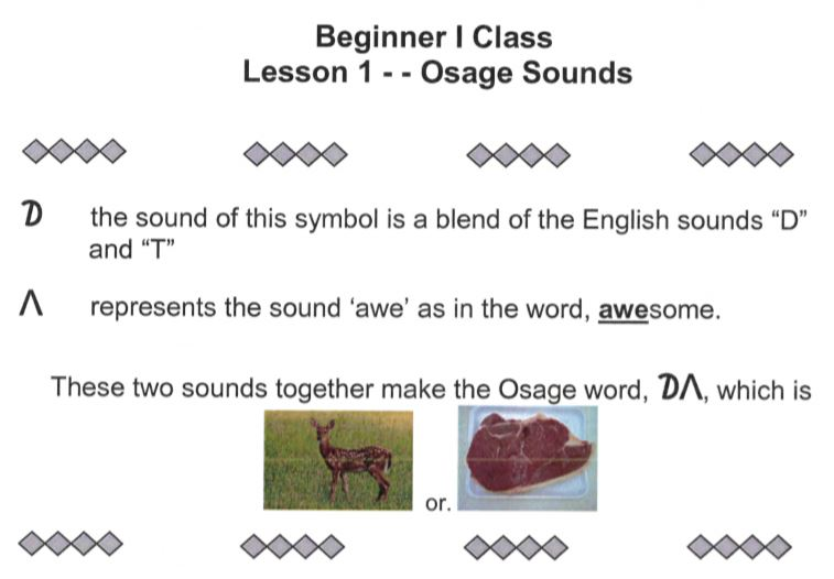 Osage Sound Lesson Example